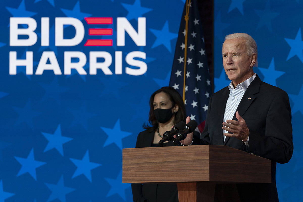 Democratic presidential candidate former Vice President Joe Biden joined by Democratic vice pre ...
