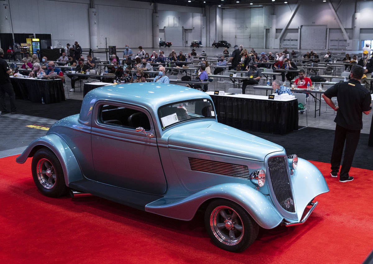 A 1934 Ford Coup is displayed to be auctioned at the Las Vegas Convention Center where Mecum Au ...
