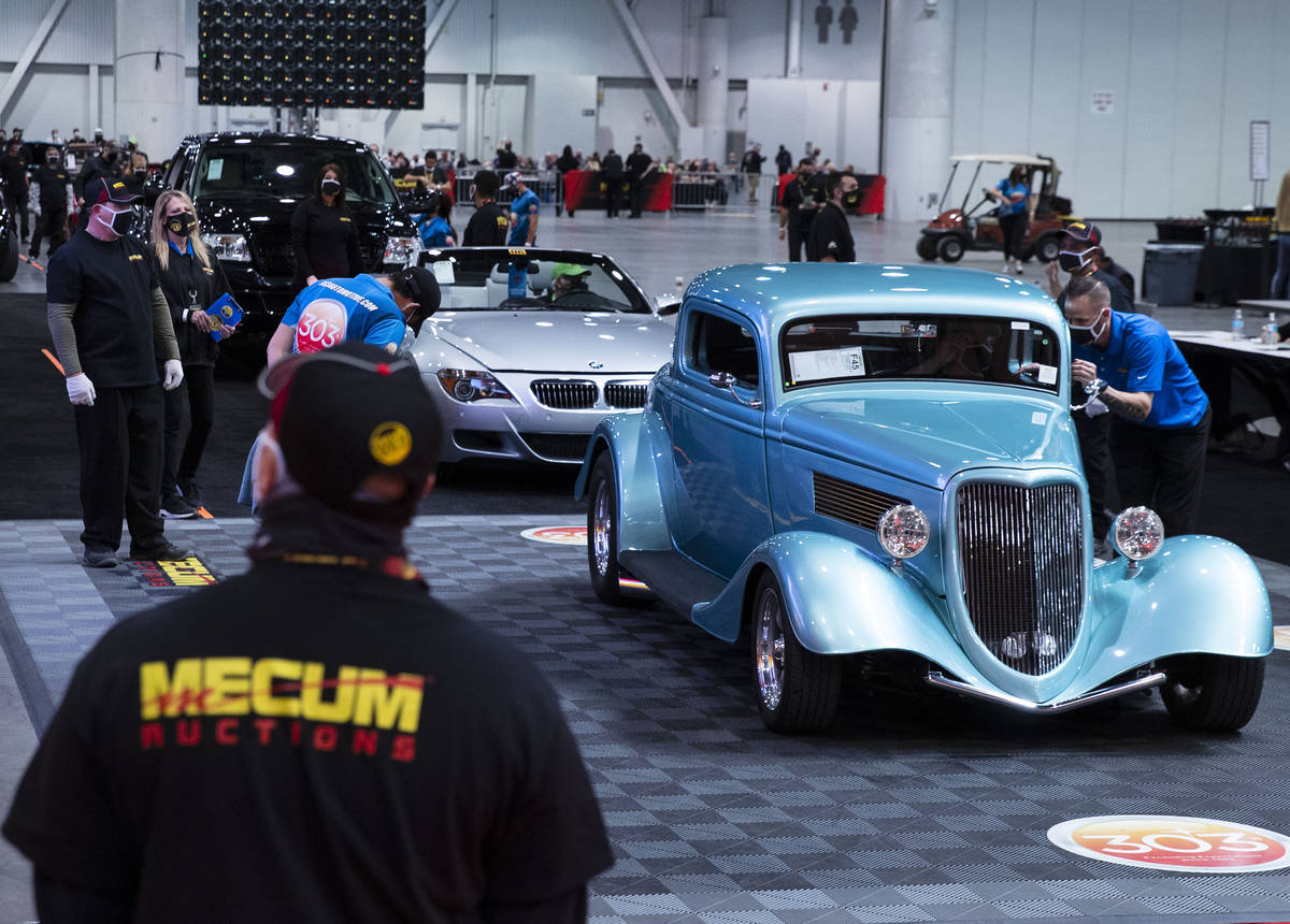 Classic cars, including a 1934 Ford Coup are displayed to be auctioned at the Las Vegas Convent ...