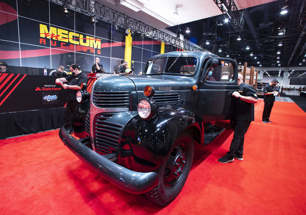 A 1946 Dodge VF21 pickup truck is displayed to be auctioned at the Las Vegas Convention Center ...