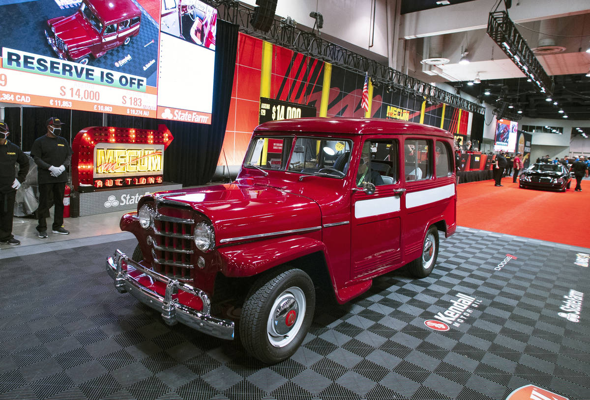 A 1953 Willys Jeep is displayed to be auctioned at the Las Vegas Convention Center where Mecum ...