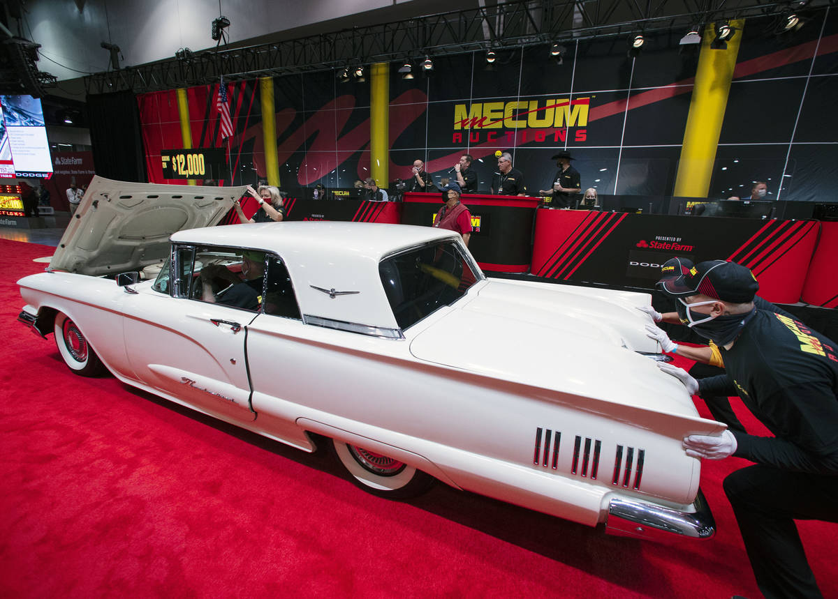 A 1960 Ford Thunderbird 352 CI is displayed to be auctioned at the Las Vegas Convention Center ...