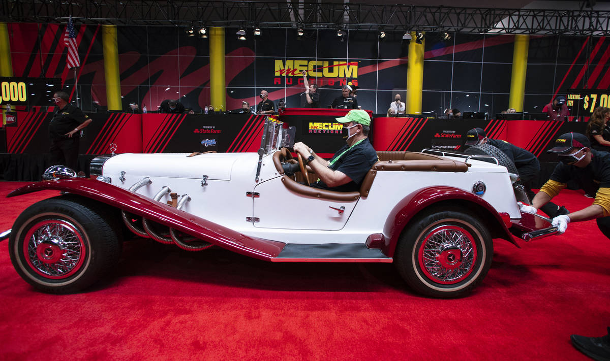 A 1979 Gazelle SSK replica Roadster is displayed to be auctioned at the Las Vegas Convention Ce ...