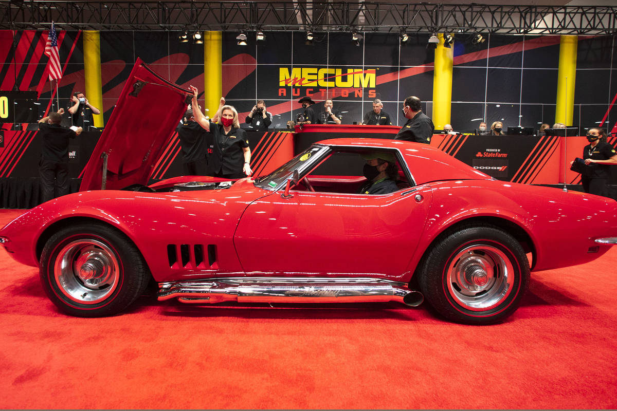 A 1968 Chevy Corvette Convertible is displayed to be auctioned at the Las Vegas Convention Cent ...