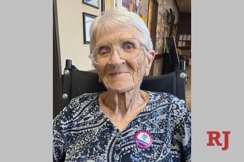 "Margaret Sanna, grandmother of RJ columnist John Katsilometes, shows her ""I Voted"" sticker in B ..."