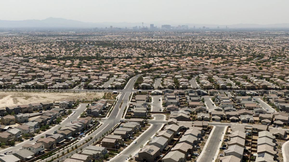 An aerial view of housing developments near Gliding Eagle Street and Deer Springs Way in North ...