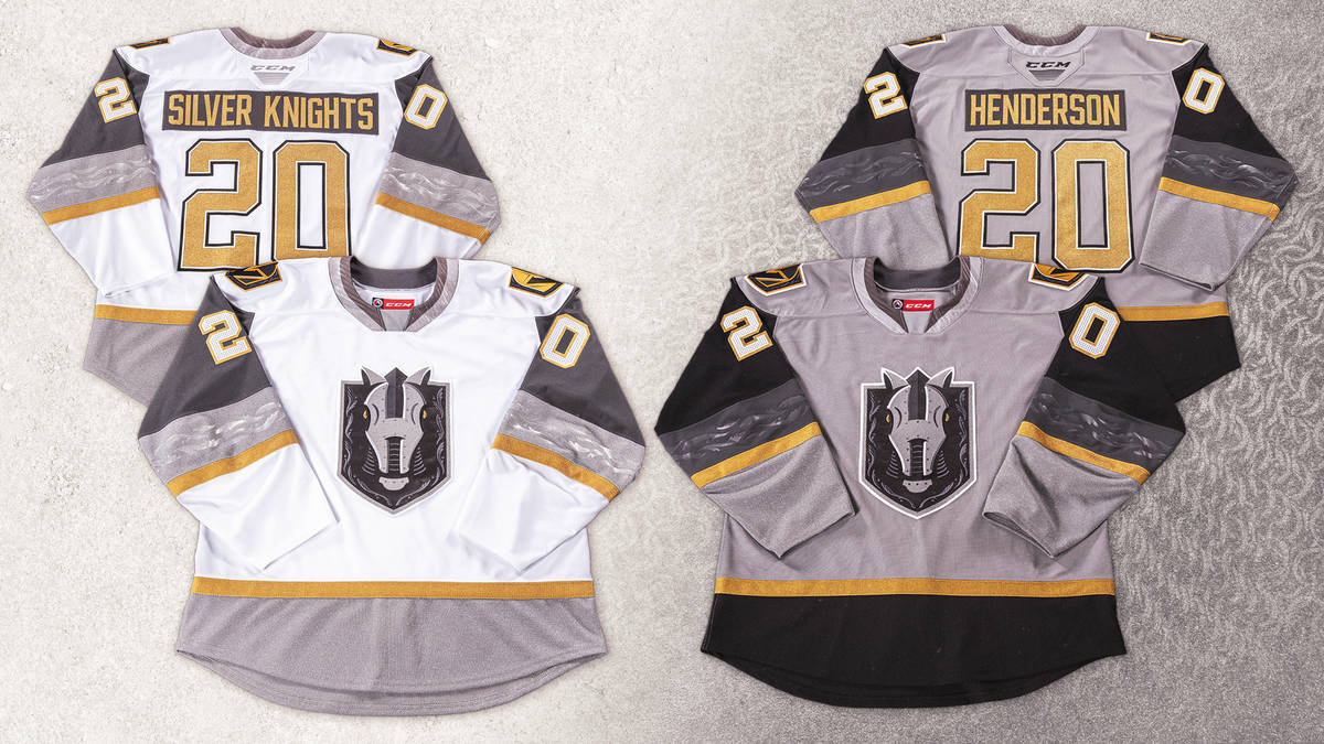 The Henderson Silver Knights' new jersey's, which were unveiled Monday night. Photo courtesy Ve ...