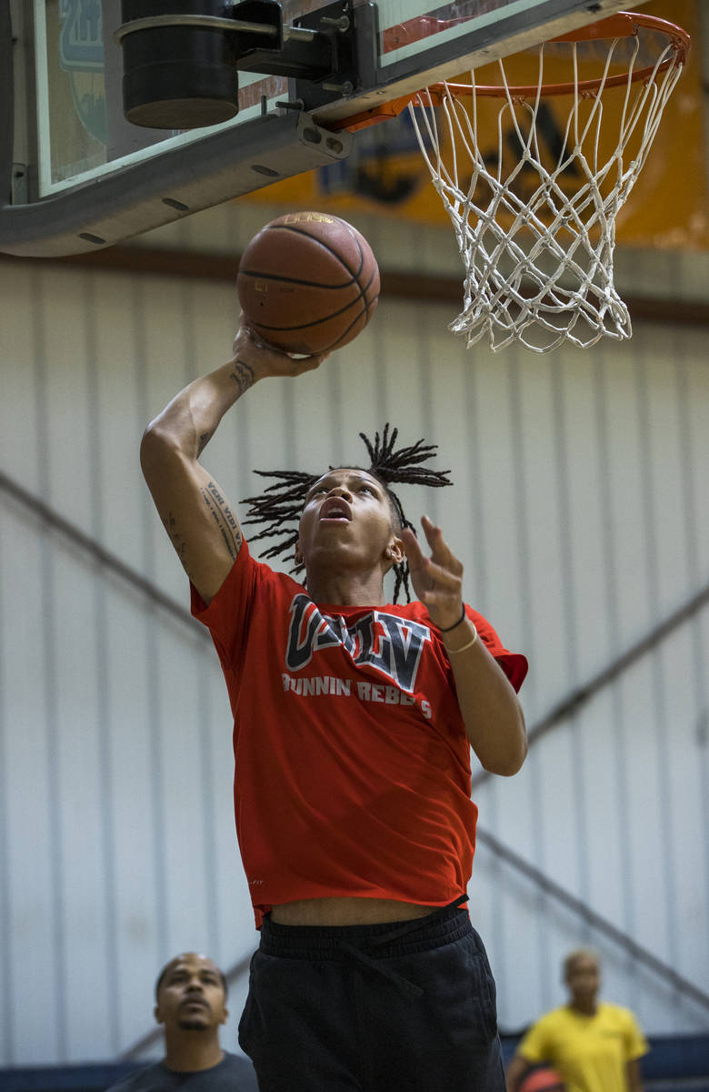 UNLV freshman wing Nick Blake gets off a shot on the court at the Tarkanian Basketball Academy ...