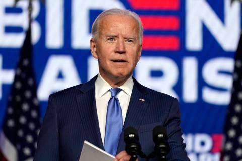 Democratic presidential candidate former Vice President Joe Biden speaks Friday, Nov. 6, 2020, ...