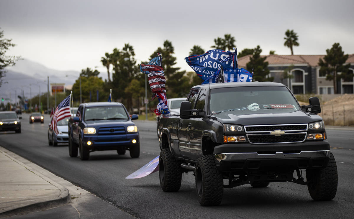 Supporters of President Donald Trump protest outside of the Clark County Election Department af ...