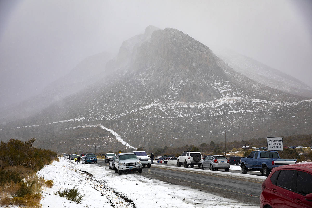 Cars line the sides of the road on the way to Mt. Charleston on Sunday, Nov. 8, 2020. Saturday& ...