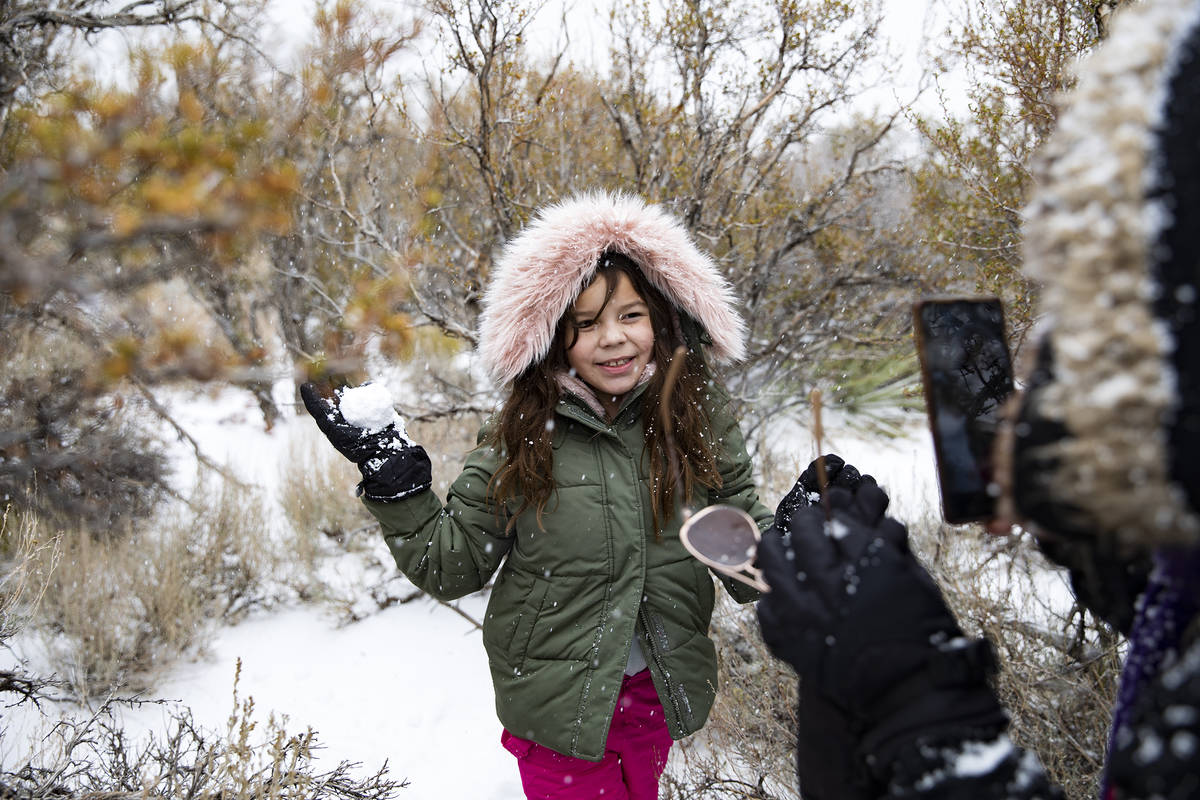 Giselle Gonzalez takes a photo of her niece Janelle Gonzalez, 8, at Mt. Charleston on Sunday, N ...