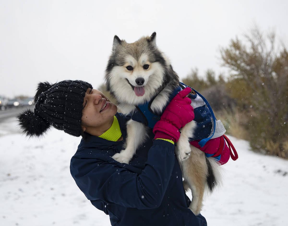Melissa Aquino holds her dog Rocky at Mt. Charleston on Sunday, Nov. 8, 2020. Saturday's ...