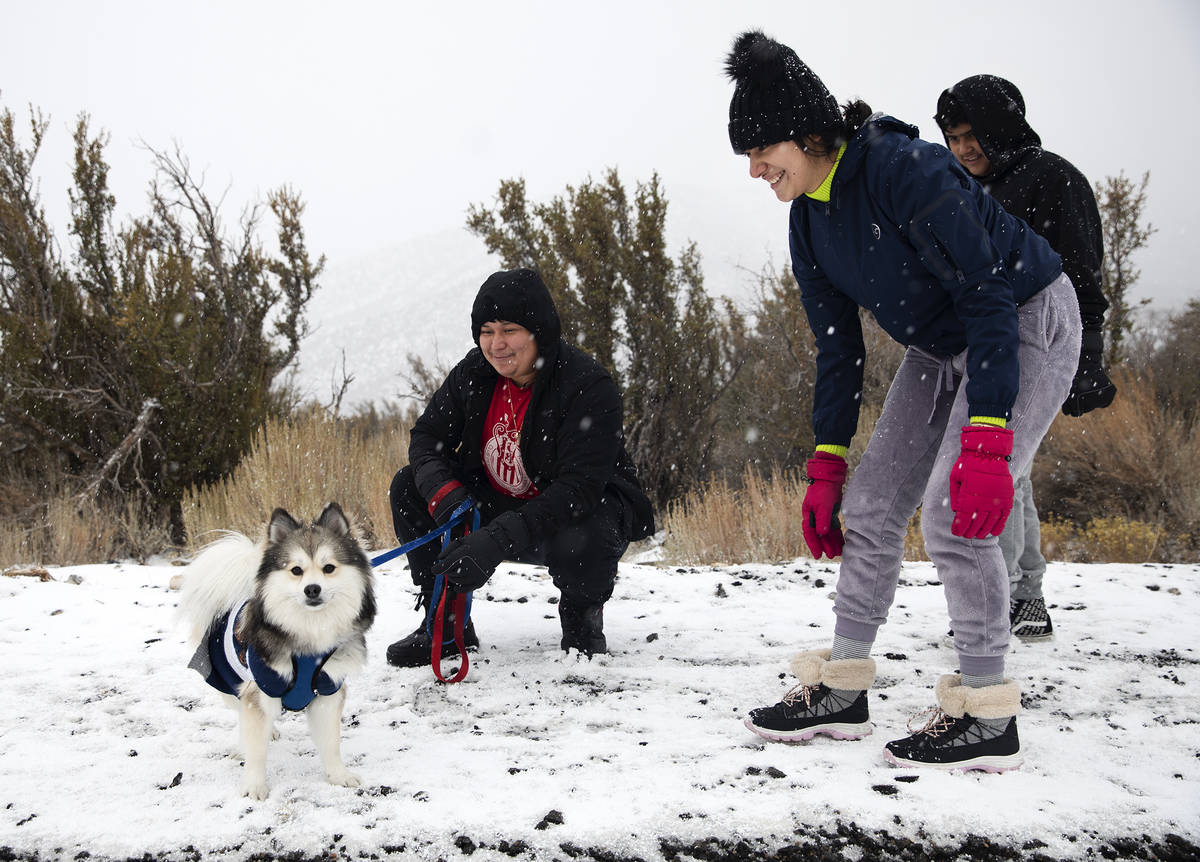 Jose Vasquez, from left, holds his dog Rocky, next to his wife Melissa Aquino and her nephew Al ...