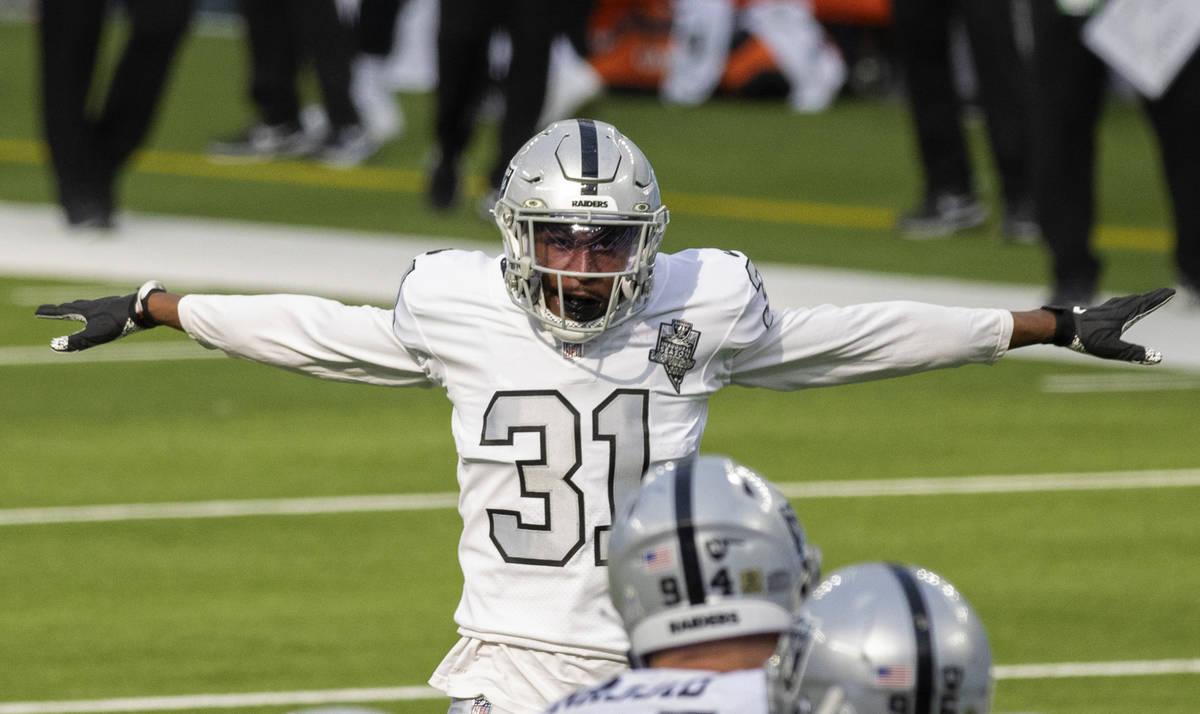 Las Vegas Raiders cornerback Isaiah Johnson (31) celebrates a big defensive stop in the second ...