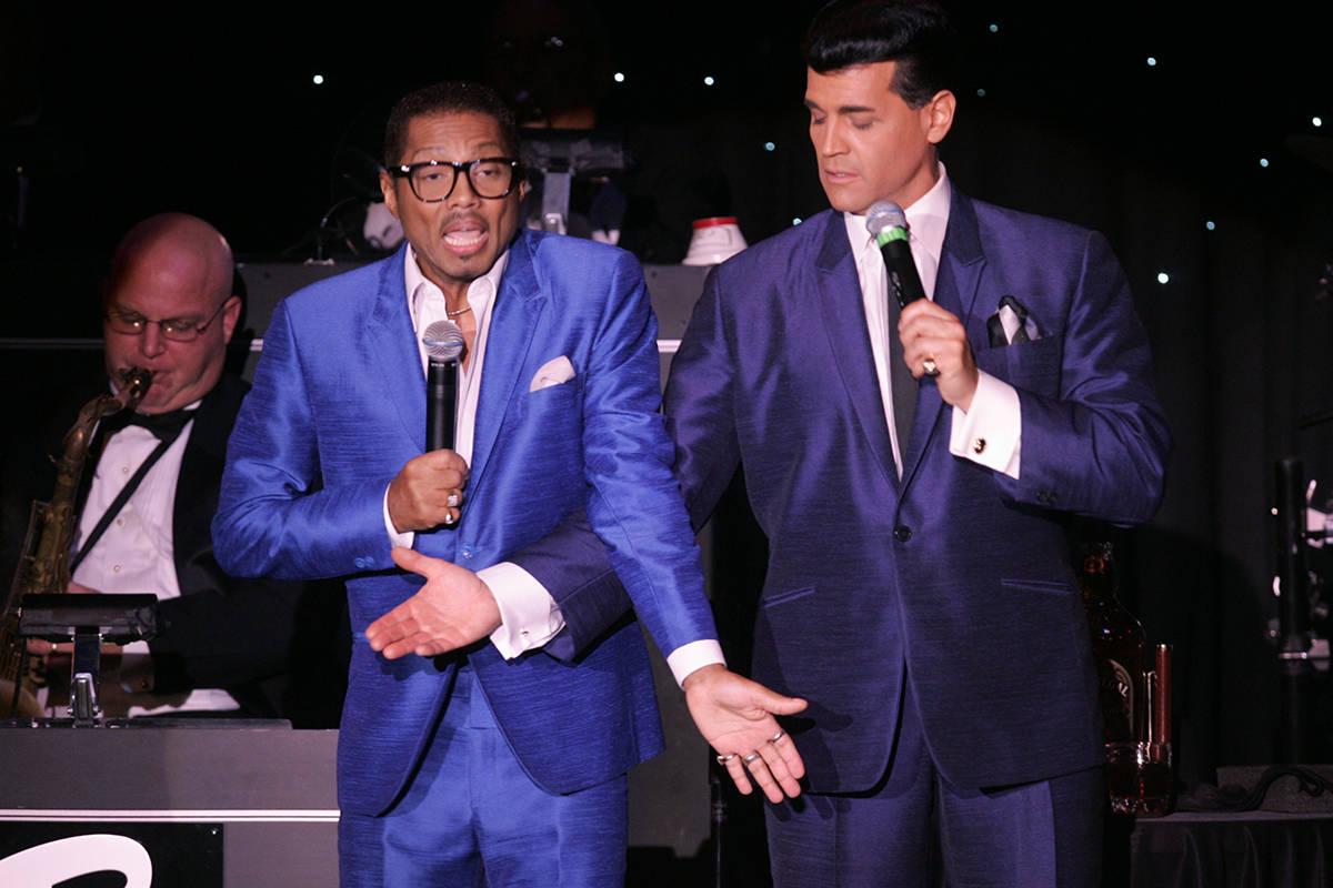 Tribute artists Kyle Diamond, left, as Sammy Davis Jr. and Johnny Edwards as Dean Martin, sing ...