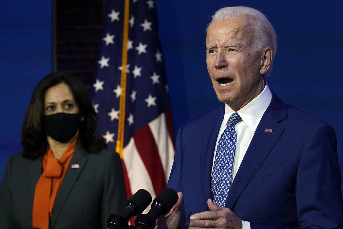 President-elect Joe Biden, joined by Vice President-elect Kamala Harris, speaks at The Queen th ...