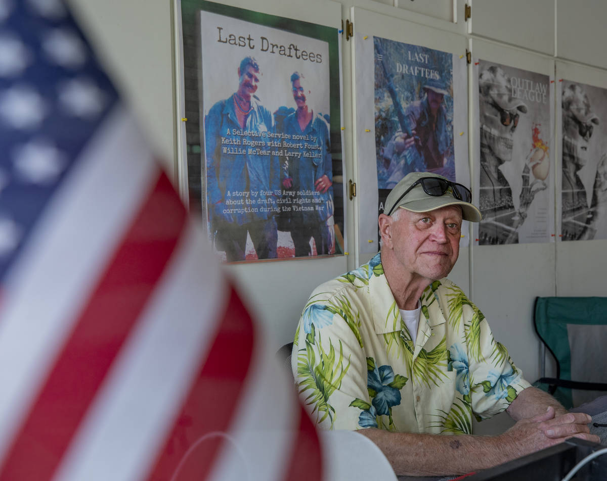 "Co-Author of ""Last Draftees"" and Vietnam veteran Robert Foust, is seen in the garage ..."