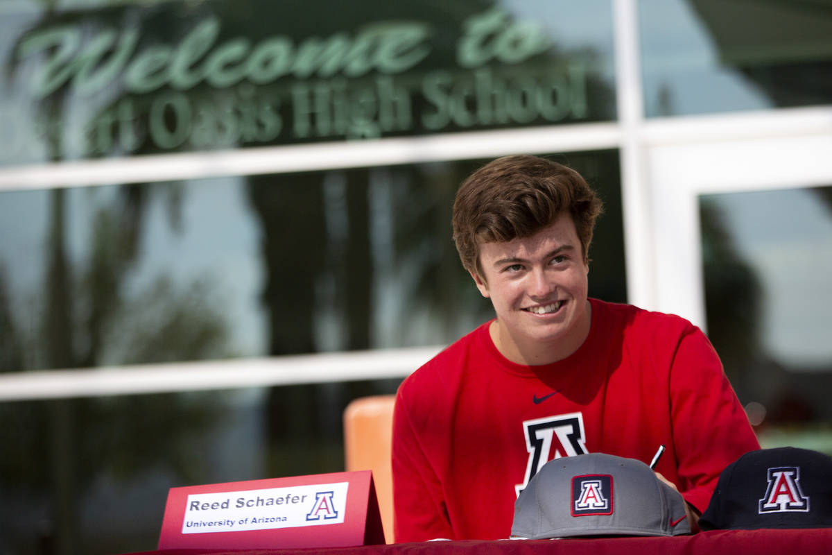 Baseball player Reed Schaefer commits to University of Arizona during a Signing Day ceremony at ...