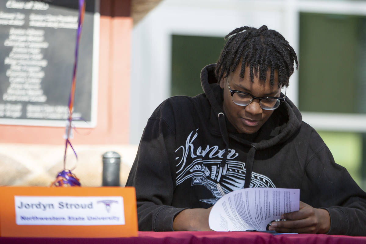 Basketball player Jordyn Stroud commits to Northwestern State University during a Signing Day c ...