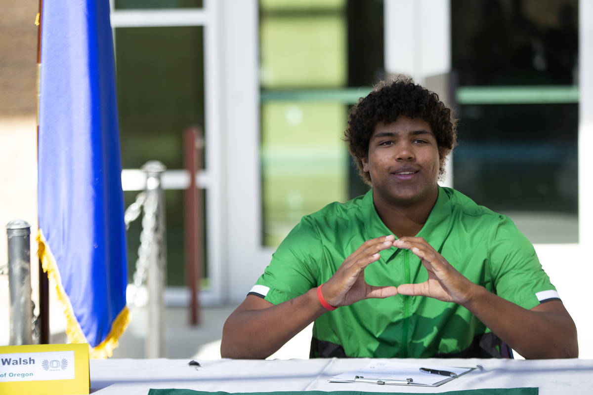 Baseball player Jacob Walsh commits to University of Oregon during a Signing Day ceremony at De ...