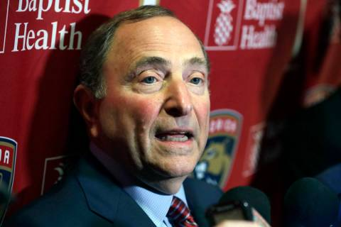 National Hockey League Commissioner Gary Bettman speaks to members of the media , Saturday, Mar ...