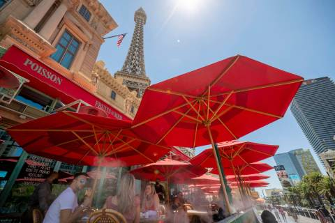 In this Aug. 7, 2020, file photo, guests dine at Mon Ami Gabi at Paris Las Vegas on the Strip. ...