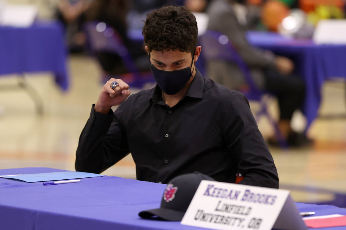 Diesel Fiore participates during a Signing Day ceremony at Bishop Gorman High School in Las Veg ...