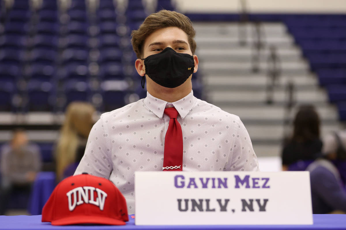 Gavin Mez is photographed during a Signing Day ceremony at Bishop Gorman High School in Las Veg ...