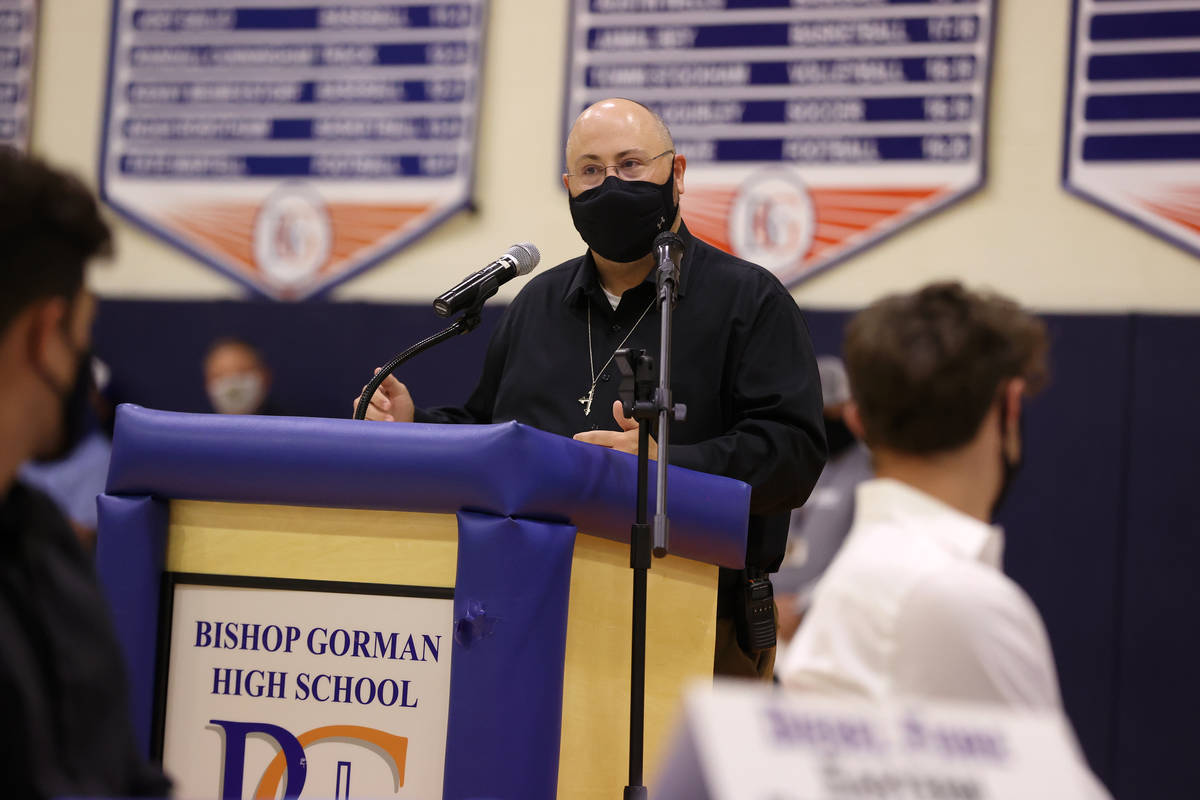 Principal Kevin Kiefer speaks during a Signing Day ceremony at Bishop Gorman High School in Las ...