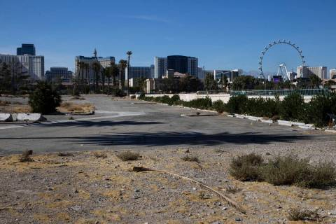 Vacant land east of the Strip on Paradise Road between an empty Siegel Group hotel and a DXL st ...