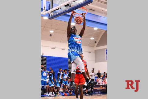 NORWALK, CA - JUNE 02: Arthur Kaluma from Universal Academy dunks the ball during the Pangos Al ...