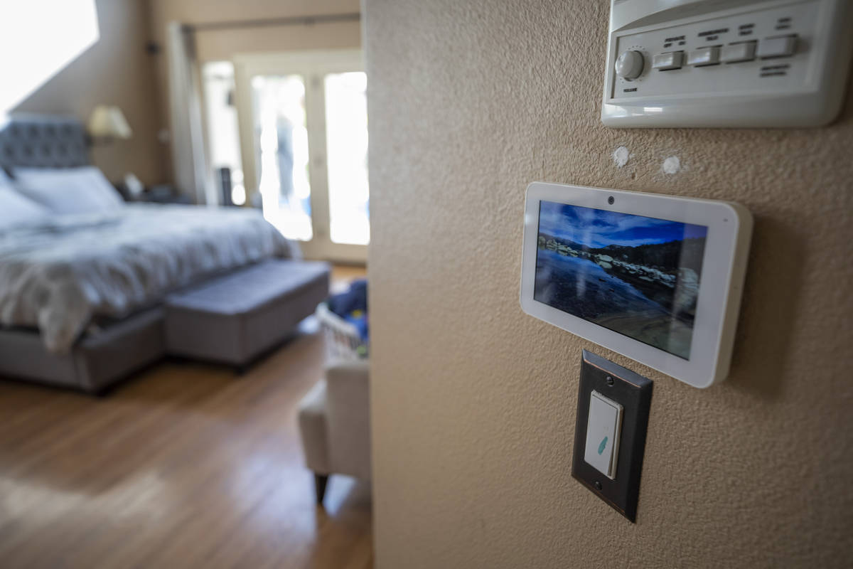 An ADT security system is seen during the installation process, in a home in Las Vegas on Nov. ...
