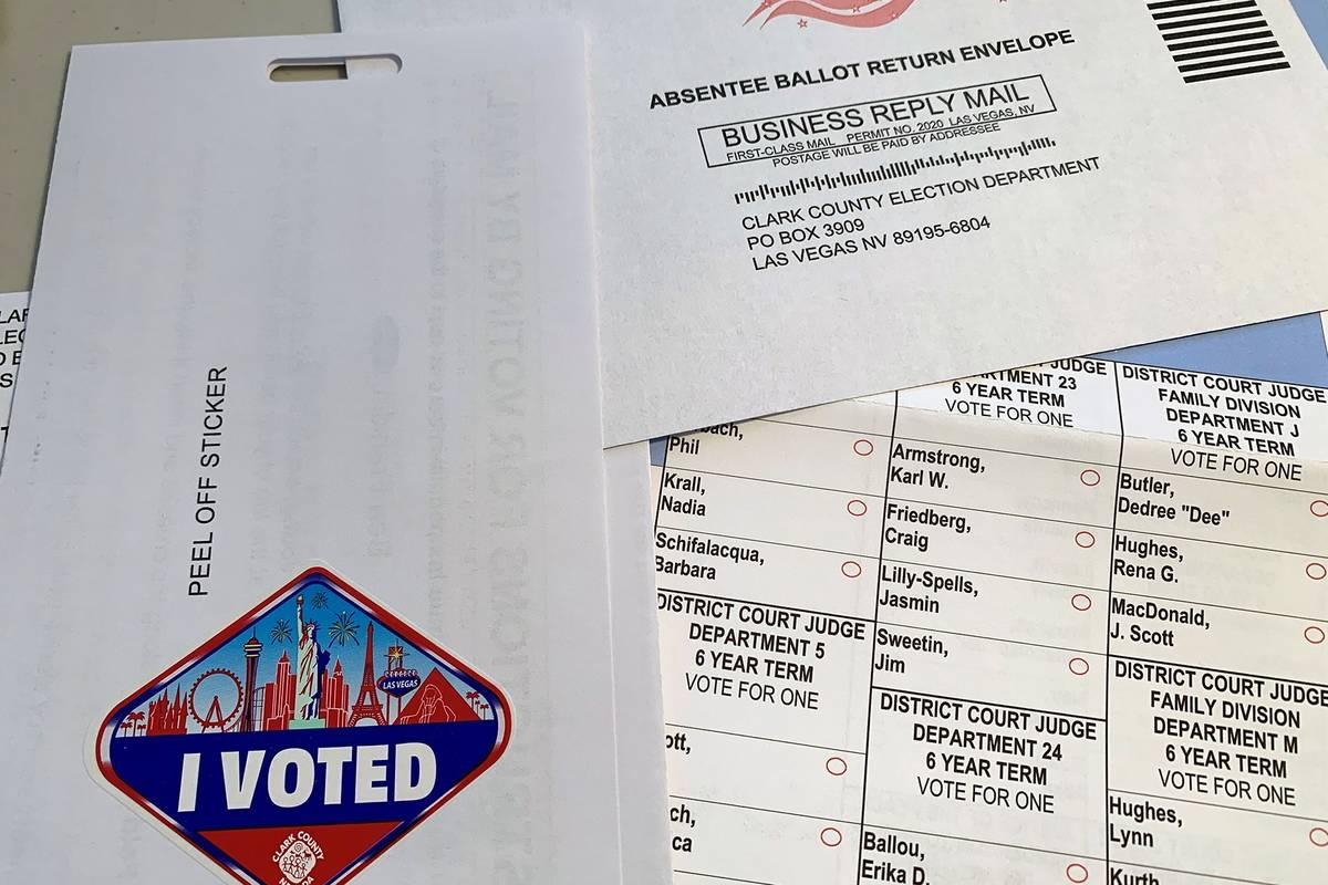 Một lá phiếu gửi qua thư cho cuộc bầu cử sơ bộ. (Hali Bernstein Saylor / Boulder City Review)