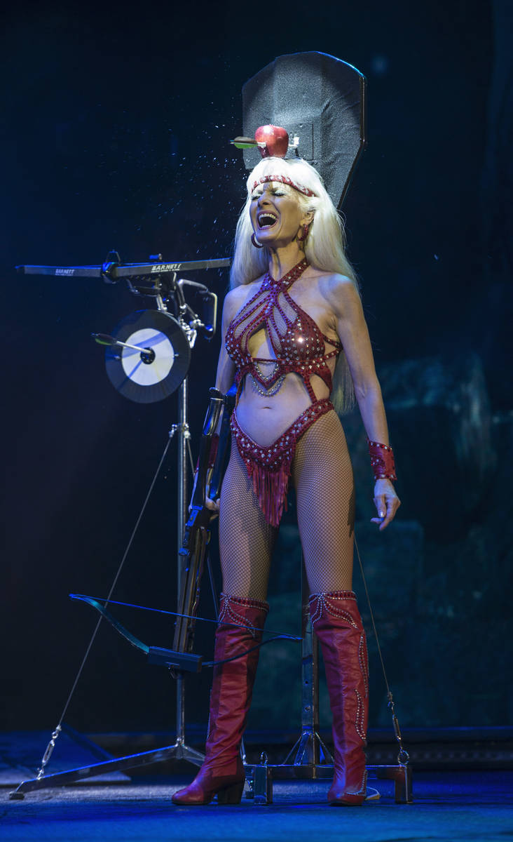 """Crossbow artist Silvia Silvia is shown during a performance of """"Wow"""" at the Rio. The show celeb ..."""