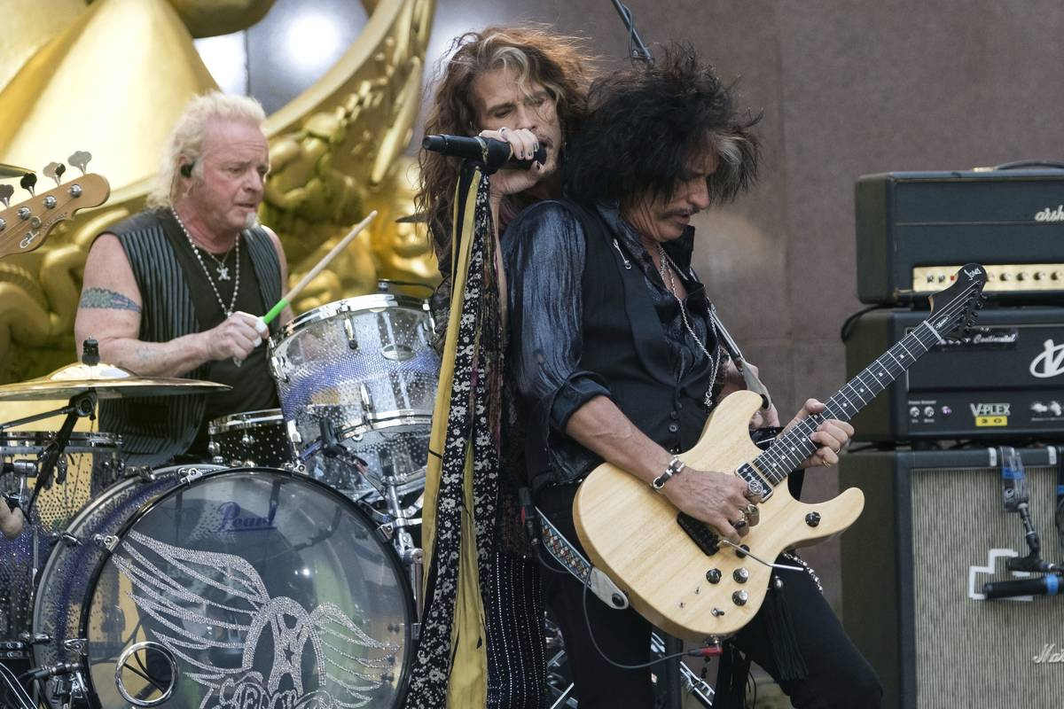 In this Aug. 15, 2018, file photo, Joey Kramer, from left, Steven Tyler and Joe Perry of Aerosm ...