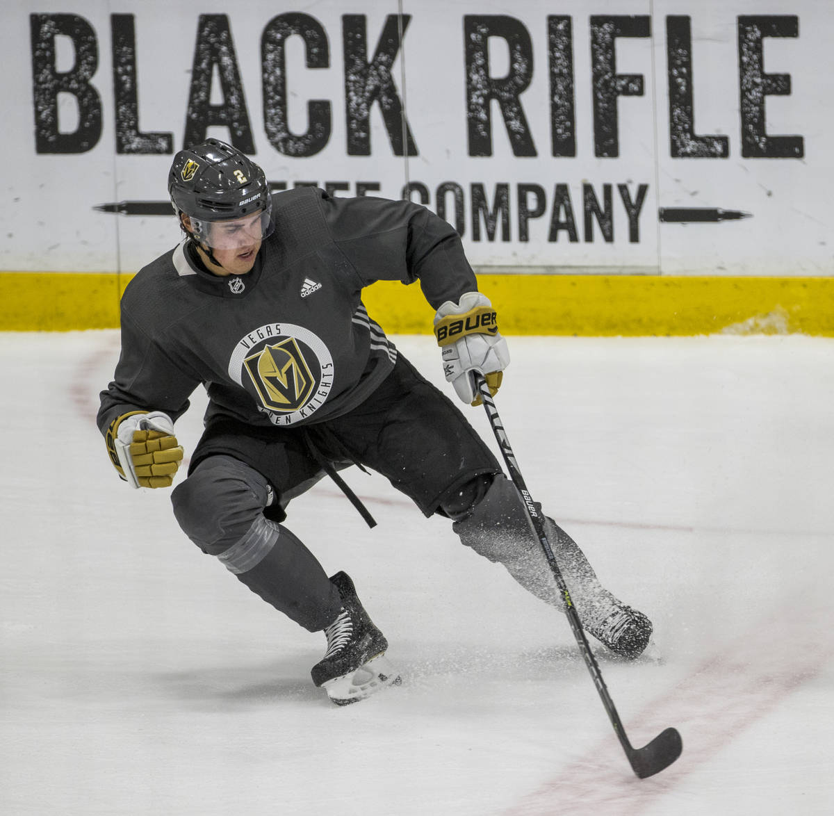 Vegas Golden Knights defenseman Zach Whitecloud (2) skates some sprints and stops during practi ...
