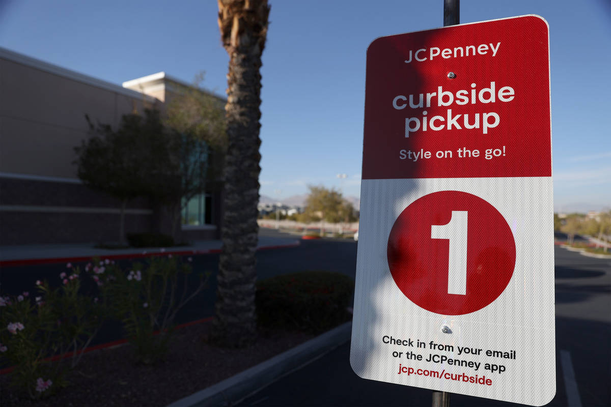 A curbside pickup parking spot sign at J. C. Penney, 4485 S Grand Canyon, in Las Vegas, Friday, ...