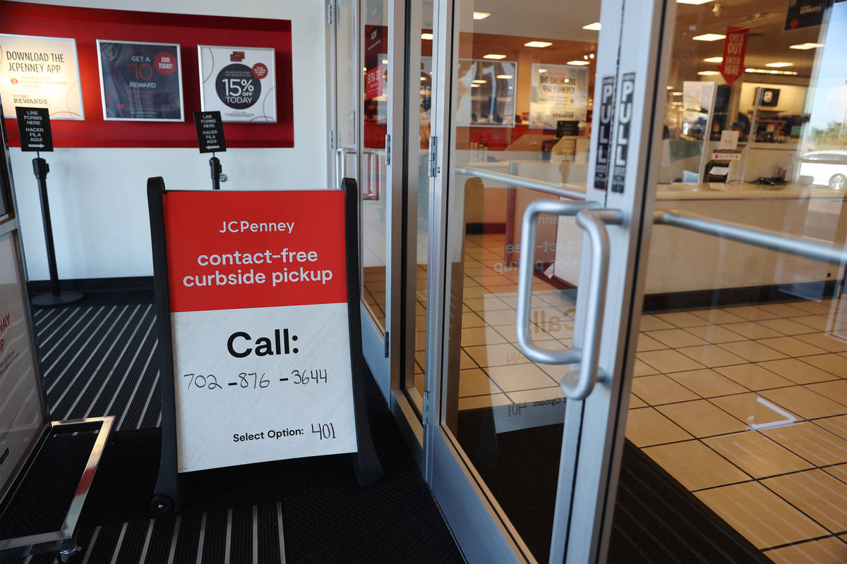 A curbside pickup sign at J. C. Penney, 4485 S Grand Canyon, in Las Vegas, Friday, Nov. 13, 202 ...