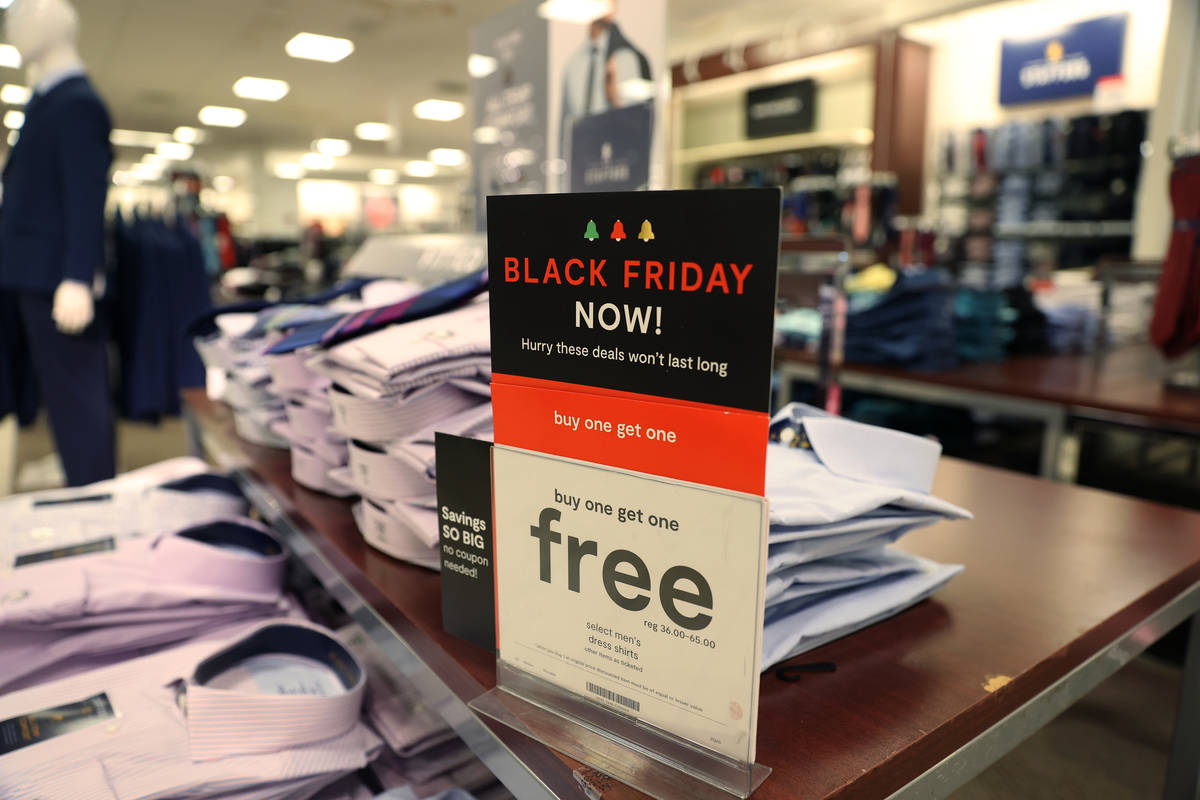 A Black Friday sale sign at J. C. Penney, 4485 S Grand Canyon, in Las Vegas, Friday, Nov. 13, 2 ...