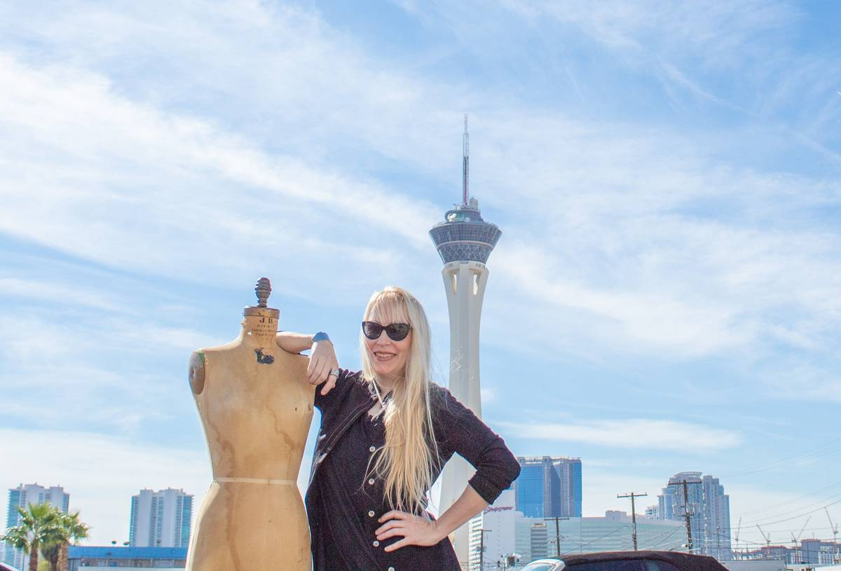 Fashion designer, Anna Bartoletti poses with a mannequin in front of the stratosphere. (Anna Ba ...