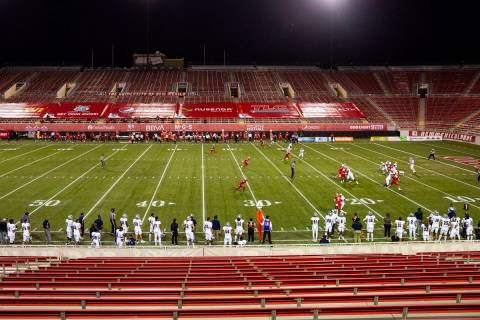 A view of the field at Sam Boyd Stadium as the New Mexico Lobos play a home football game again ...