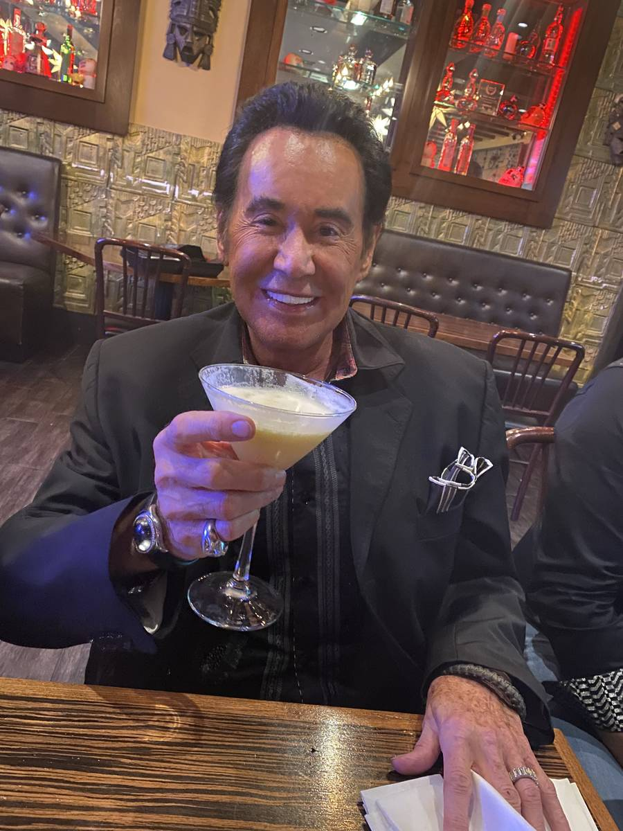 Wayne Newton is shown with a Hawaiian Martini at Eldorado Cantina on Sammy Davis Jr. Drive on T ...