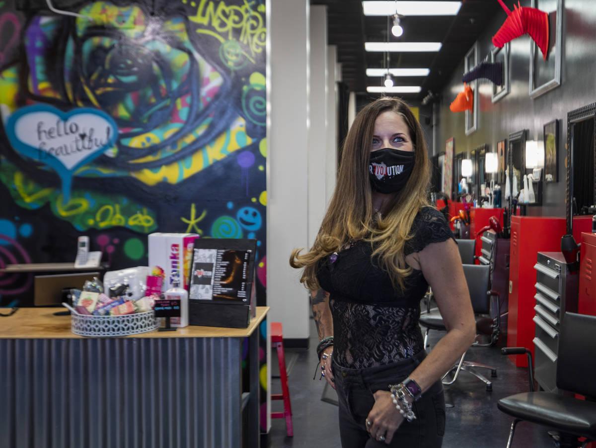 Revolution Salon owner Amanda Deborski is photographed at the salon in Las Vegas, on Tuesday, N ...