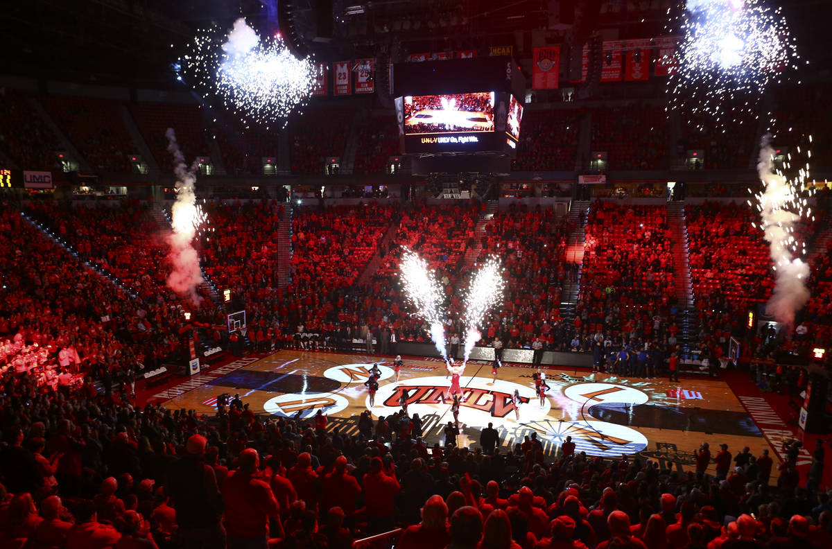 Fans fill the arena before the start of a basketball game between UNLV and UNR at the Thomas &a ...