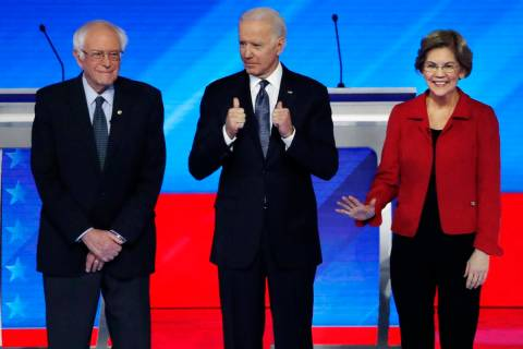 Democratic presidential candidates from left, Sen. Bernie Sanders, I-Vt., former Vice President ...