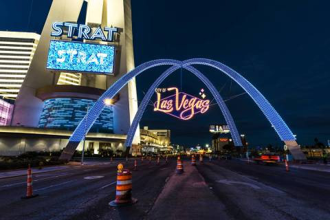 The $6.5 million downtown gateway arch. (City of Las Vegas)