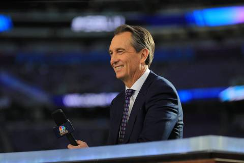 Cris Collinsworth is shown during Super Bowl LII at U.S. Bank Stadium on February 4, 2018 in Mi ...