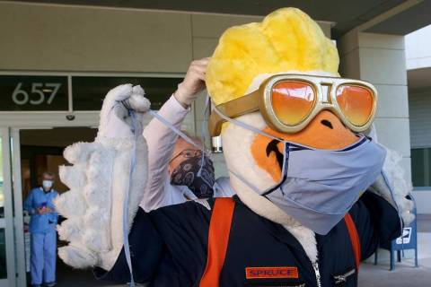 Las Vegas Aviators mascot Spruce will be on hand for a Wednesday food drive to benefit Three Sq ...