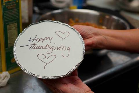 Volunteers prepare individual Thanksgiving meals for seniors in Hawthorne, N.J., on Nov. 3, 202 ...